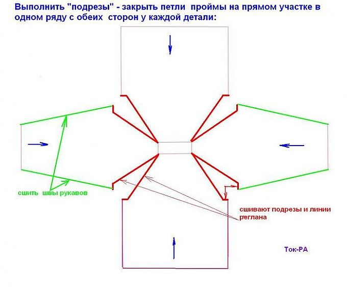 Вязание реглан снизу спицами схема 23